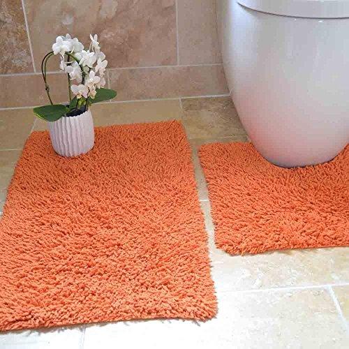 Tony's Textiles Tappetini per Bagno - 100% Cotone Ritorto - Set da 2 - Arancione