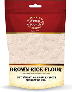 Spicy World Brown Rice Flour 6 Pound Bag - Grown in USA, All Natural