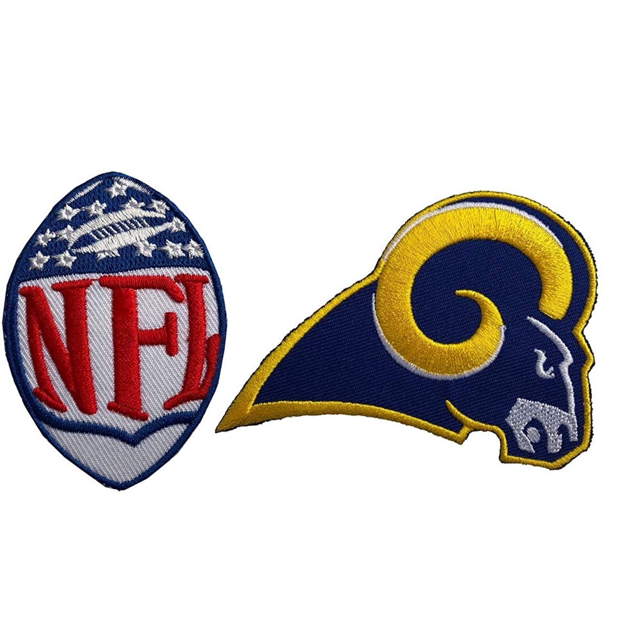 Hipatch Los Angeles Rams Embroidered Patch Iron on Logo Vest Jacket Cap Hoodie Backpack Patch Iron On/sew on Patch Set of 2Pcs
