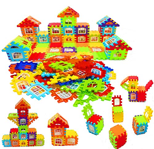 SVShoperzone Building Blocks for Kids, Big Size House Building Blocks with Windows, Block Game for Kids,Boys,Children (72 Pcs) JVM Plastic Fish Catching Game with 26 Pieces of Fishes, (Blocks 72)