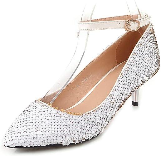 HommesGLTX Talon Aiguille Talons Hauts Sandales Blings Ankle Strap Pumps femme Pointed Toe talons Pumps femme Party chaussures femmes grand Taille 32-43