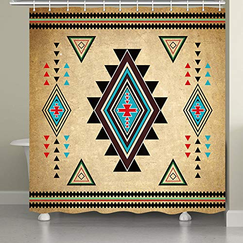 JAWO Southwestern Duschvorhang für Badezimmer, Südwest Indianer Retro Tribal Navajo Aztec Ethno Muster Badezimmer Zubehör Stoff Badezimmer Vorhang mit Duschvorhanghaken