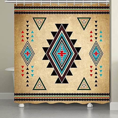JAWO Southwestern Duschvorhang für Badezimmer, Südwestliche Indianer Retro Tribal Navajo Aztec Ethnic Muster Badezimmer Accessoires Stoff Badezimmer Vorhang mit Duschvorhang Haken