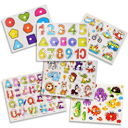 Playcrate 6 Pack Wooden Learning Puzzles for Kids - Educational Animals Numbers , Shapes and Letter Pegboard Puzzles - Fantastic Educational Aid for Children, Toddlers and Babies