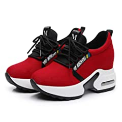 c8d950a9b1885 Women s Casual Lace up Hidden Heel Wedges Platform Fashion Sneakers ...