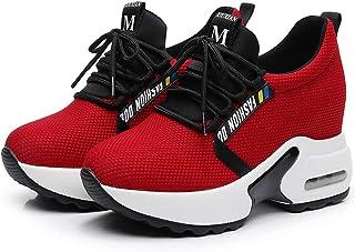 CYBLING Womens Hidden High Heel Platform Wedge Sneakers Fashion Lace up Sport Walking Shoes