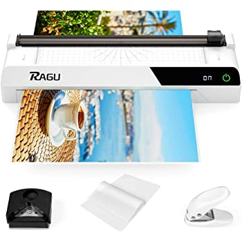 2020 Upgraded RAGU A3 Laminator, 6-in-1 Multifunction 13 Inches Thermal Laminator with Touch Screen, Paper Trimmer, 40 Laminating Pouches, Corner Rounder, for Office/School(White)
