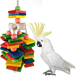Large Parrot Chew Toy for Bird Macaw African Greys Cockatoo Eclectus Budgies Parakeet Cockatiel Conure Lovebirds Cage Wood Toy