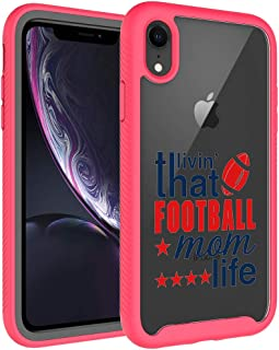iPhone XR Case, iPhone XR Case for Mom - That Livin' Football Mom Life Pattern Dual Layer Armor Defender Shockproof Crystal Clear Back Case Heavy Duty Soft TPU Rubber Bumper Cover for Apple iPhone XR