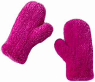 Real Mink Fur Knit Full Cover Mitten Gloves Women Men with High Elasticity Winter Warm