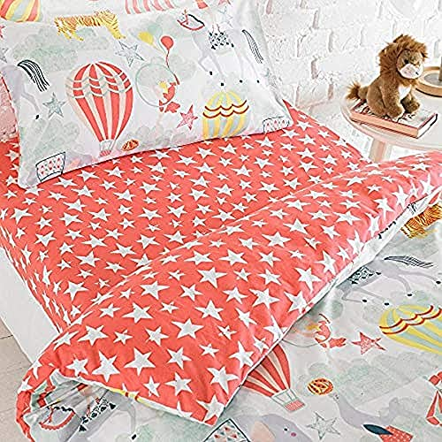 Riva Home Vintage Circus DB FIT Sheet Mult, Polyester/Coton, Rosa, Double
