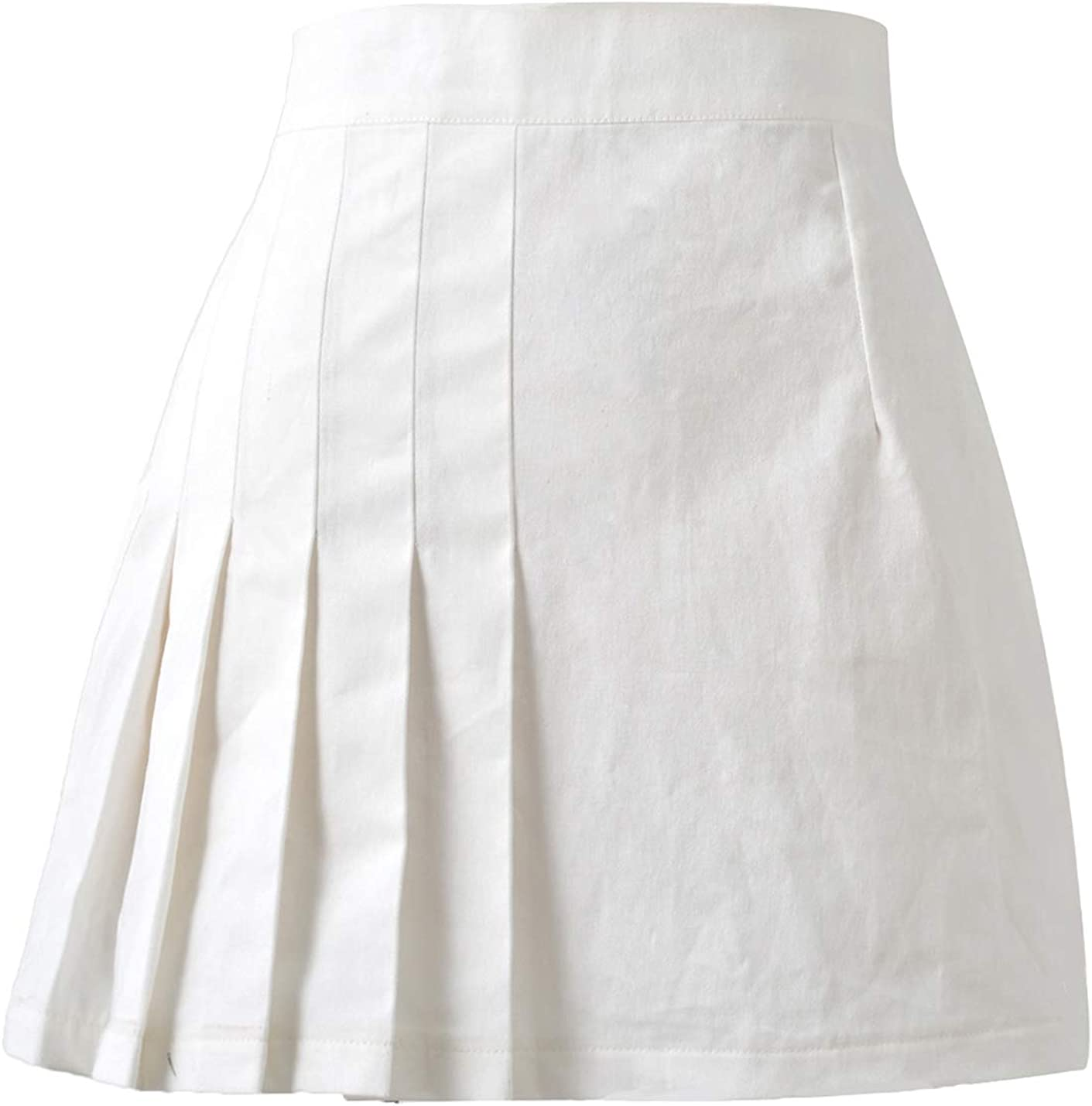 IKIIO Women's Fashion Casual Summer Solid High Waisted Skirt Flared Pleated A Line Skirts