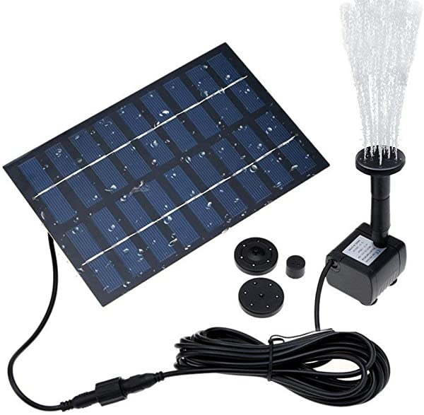 COSSCCI 1 8W Solar Fountain Water Pump For Bird Bath Solar Panel Kit Outdoor Fountain For Small Pond Patio Garden Square