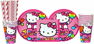 Hello Kitty Party Supplies Pack for 16 Guests Includes | Straws, Dessert Plates, Beverage Napkins, and Cups | Hello Kitty Rainbow Birthday Party Supplies | Hello Kitty Kitchen Supplies for 16 Guests