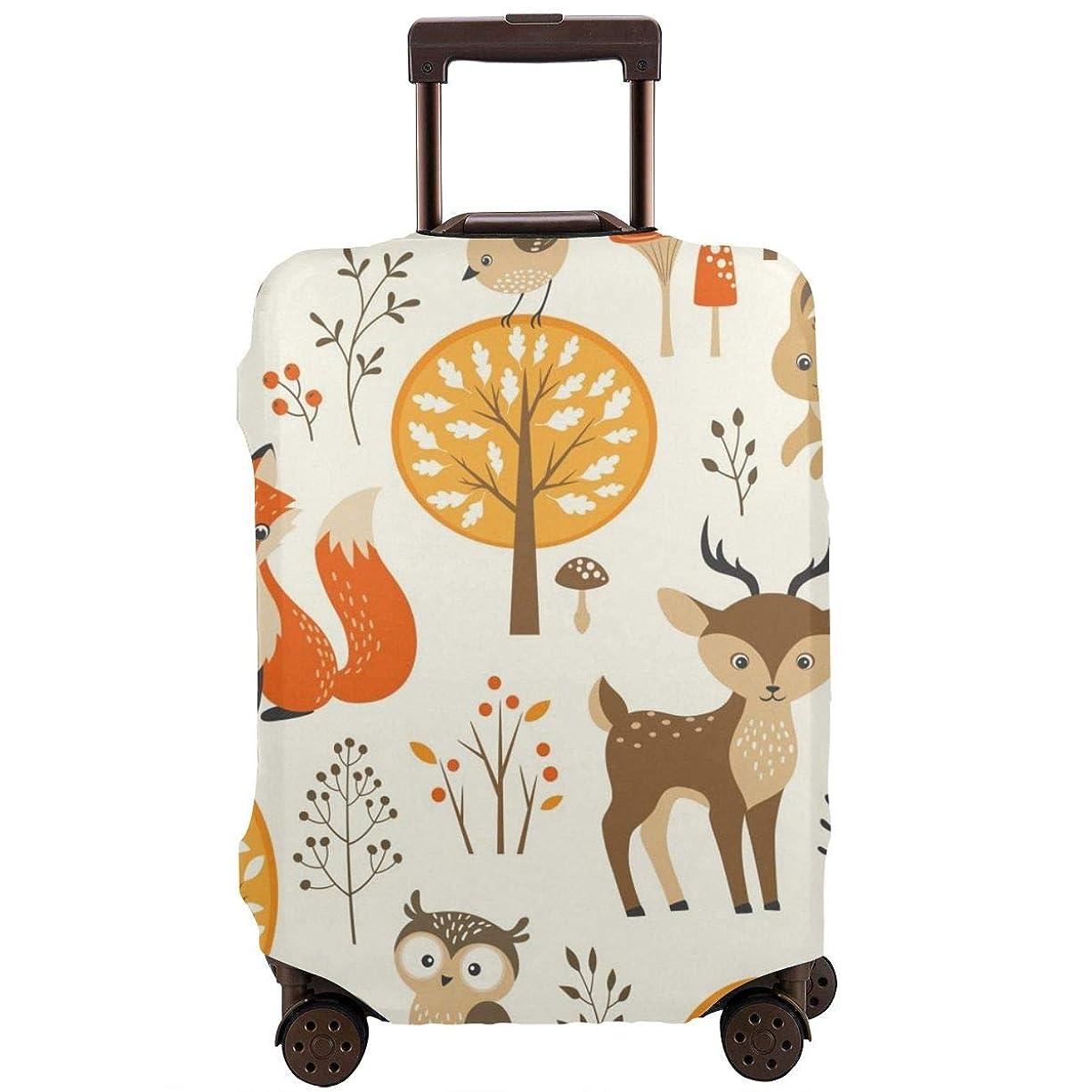 引き受ける小さいはいスーツケースカバー キャリーバッグ アニマル 動物柄 花柄 狐 ハリネズミ ウサギ 鳥 お荷物カバー ラゲッジカバー 伸縮素材 保護 防塵 旅行 出張 便利 おしゃれ 洗える 着脱簡単S M L XL サイズ