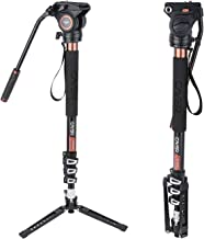 Cayer AF34 Professional Video Monopod Kit 71 inch Aluminum Telescopic Camera Monopod with Pan Tilt Fluid Head and 3-Leg Tripod Base for DSLR Video Cameras Camcorders, Plus 1 Extra Sliding Plate