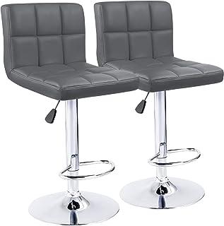 KaiMeng Bar Stools Modern Square Counter Height Bar Stool PU Leather Swivel Adjustable Stool Set of 2(Gray)