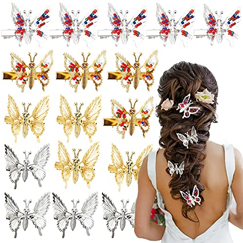Butterfly hair clip with moving wings