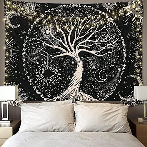Betylifoy Tapiz de Árbol de la Vida Luna y Sol Tapiz Colgante de Pared Negro Mandala Psicodélico Tapiz de Pared Estrellado Hippie Arte de Pared Decoración para Fiesta de Dormitorio (130x150cm)