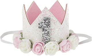 Baby Birthday-Hat-Crown Tiara Princess - Baby Girls/Kids Birthday Sparkle Gold Flower Style with Artificial Rose Flower