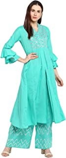 Bhama Couture Women's A Line Salwar Suit Set(Pack of 2)(BHKS035_Sea Green)