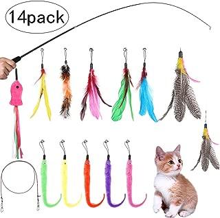 LORAER Qianer 14PCS 猫じゃらし ねこおもちゃ 猫のおもちゃセット 羽のおもちゃ じゃれ猫 伸縮できる釣り竿 交換用羽根 魚 毛虫 ぶらぶら ペットグッズ 猫遊び 運動不足 ストレス解消 ねこ用品