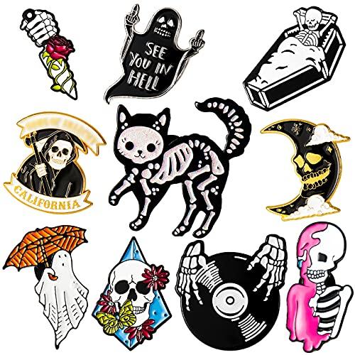 10 Piezas de Alfileres de Esmalte de Halloween Broches Punk Bonitos Pin de Esmalte de Calavera Esqueleto Gato Fantasma para Mochilas Ropa Chaquetas Accesorios