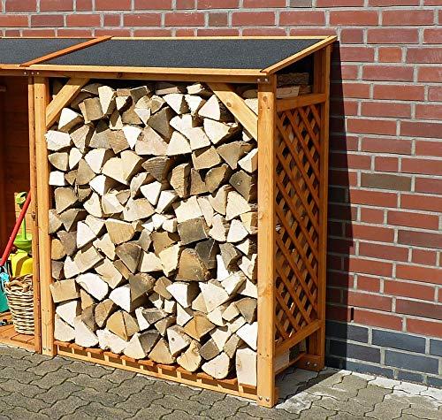 Erweiterung für Kaminholzregal Renate Kiefer, honigbraun, 118,5x68x148cm, Holzaufbewahrung, Garten, Outdoor, Outdoorholzlagerung, Holzlagerung