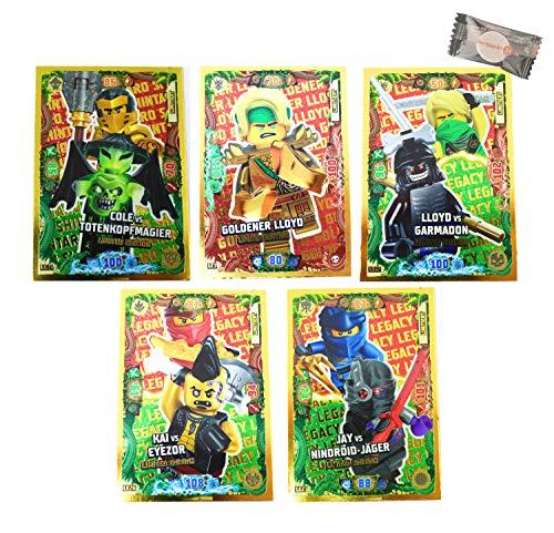 Lego Ninjago Karten Trading Cards Serie 6 - Die Insel (2021) - LE24 + LE25 + LE26 + LE27 + LE1 Gold Karten + stickermarkt24de Gum