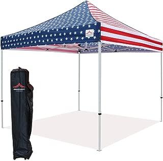 UNIQUECANOPY 10'x10' Ez Pop Up Canopy Tent Commercial Instant Shelter, with Heavy Duty Roller Bag, 10x10 FT Flag