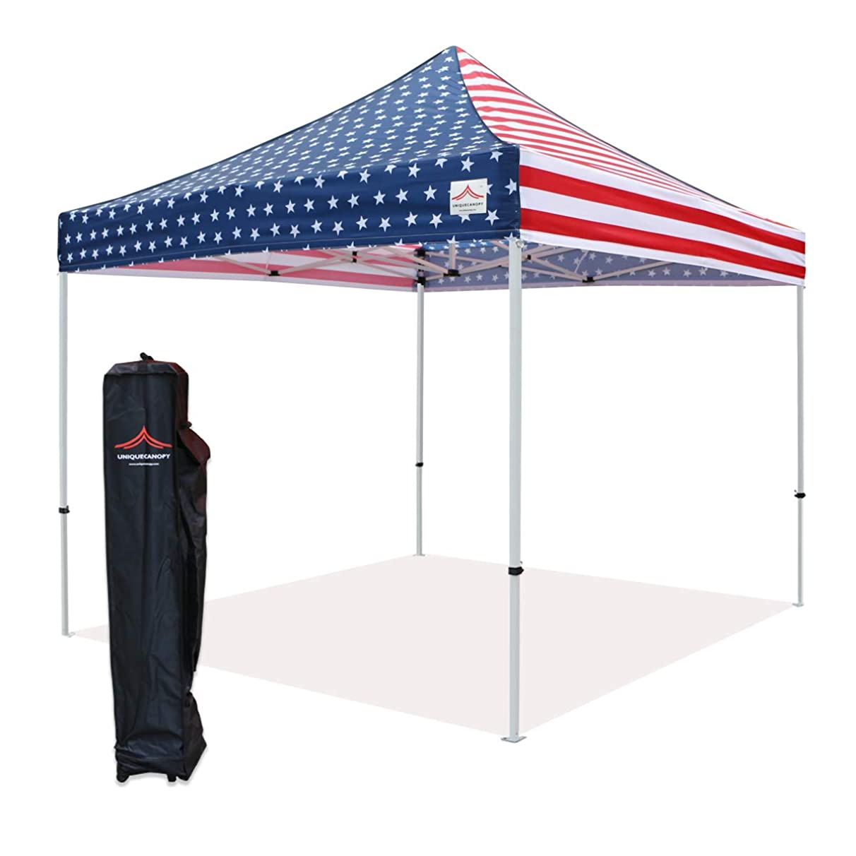 UNIQUECANOPY 10x10 Ez Pop up Canopy Tents for Parties Outdoor Portable Instant Folded Commercial Popup Shelter, with Wheeled Carrying Bag Flag