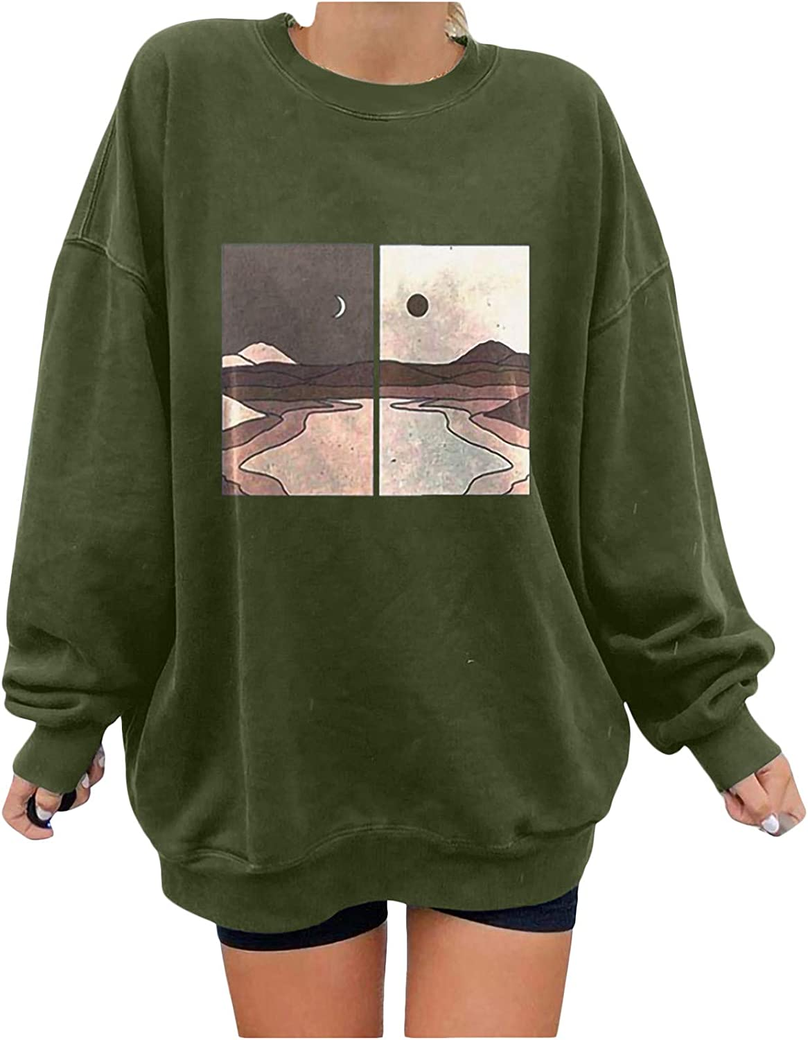 Aniwood Crewneck Sweatshirts for Women Vintage Oversized Fashion Printed Long Sleeve Hoodies Casual Loose Pullover Tops