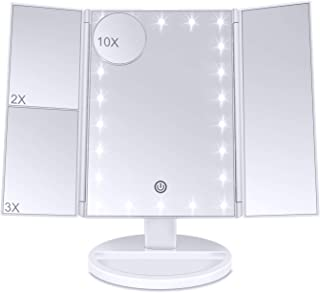 Lirex Lighted Trifold Makeup Mirror, LED Folding 1X 2X 3X 10X Magnifying Makeup Mirror LED-lit Touch Dimmer Vanity Mirror Cosmetic Cordless Shaving Mirror