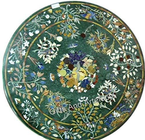 36 pulgadas redonda verde césped mesa de comedor mármol superior semi preciosas piedras incrustadas