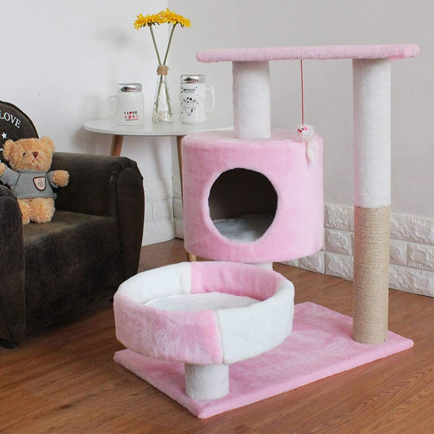 HQQ Pet Bed Cat Climbing Frame Four Seasons Universal Dog House Cat Litter Toy Sisal Jumping Platform (color   PINK)