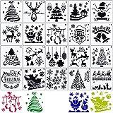 Schablonen Weihnachten Wiederverwendbar 20 Stück (13 x 13cm) Zeichenschablonen Malschablonen...