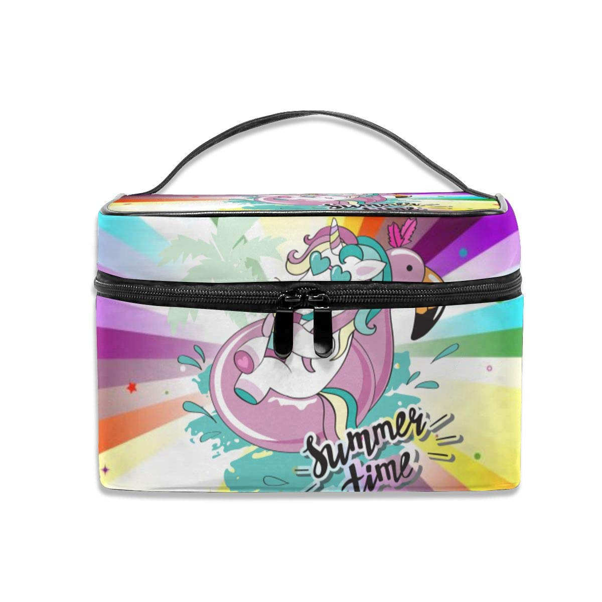 New sales Lucaeat Rainbow Star Makeup Train Portable Case Carrying Zip Tra New products world's highest quality popular