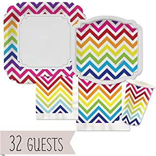 Big Dot of Happiness Chevron Rainbow - Party Tableware Plates, Cups, Napkins - Bundle for 32