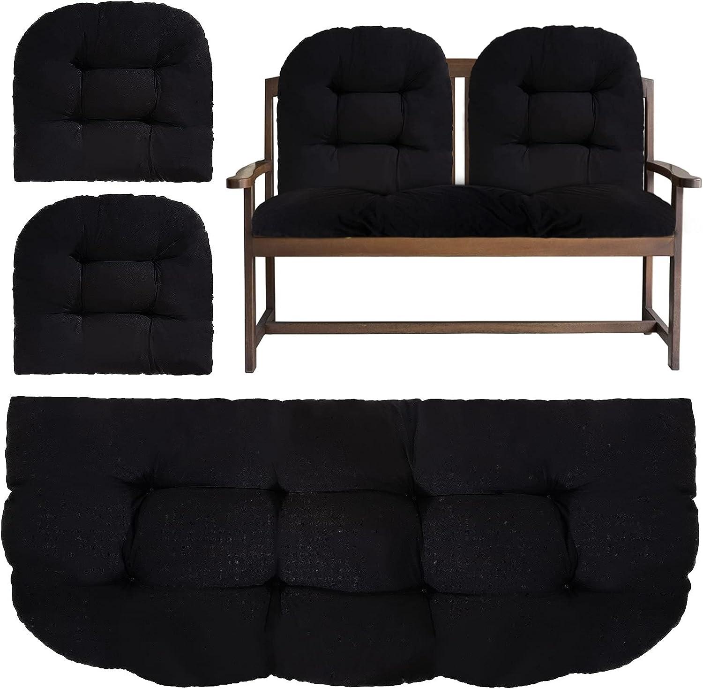 3 Pack Polyester Loveseat Bench Cushion Set- 46.9