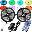 Lighting Equipment & Accessories - Magic BEAM Led Strip Lighting Full Kit 10-Meter 32.8 Ft 5050 RGB 300 Leds Flexible Color Changing LED Light Strips with Power Supply + 44-Key IR Remote Controller