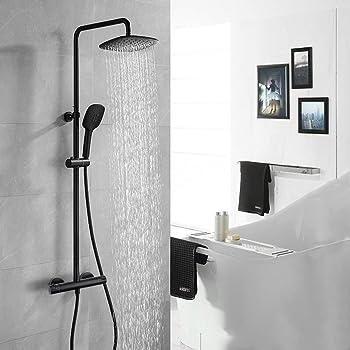 AuraLum Set de ducha negro grifo monomando de ducha Sistema de ...