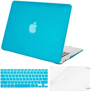 MOSISO Plastic Hard Shell Case & Keyboard Cover & Screen Protector Only Compatible with MacBook Air 13 inch (Models: A1369 & A1466, Older Version 2010-2017 Release), Aqua Blue