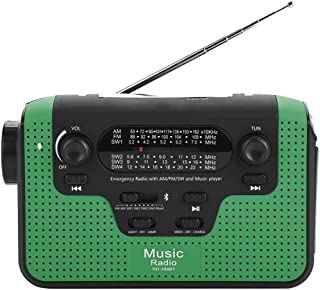 4-Way Powered AM/FM/SW Weather Radio, Hand Crank and Solar Powered Radio, Bluetooth Radio with Cellphone Charger Battery B...