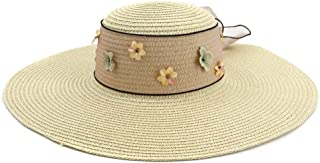 Sun Hat for men and women Summer Women's Country Style Straw Hat Sun Hat Floral Print Ribbon Hat Wide Side Bucket Jacquard Topee