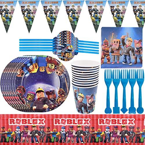 ZSWQ Roblox Forniture per Feste a Tema Set di stoviglie Tovaglioli Sacchetti Regalo Banner di Compleanno Decorazioni Gaming Party Tableware Game Day Party