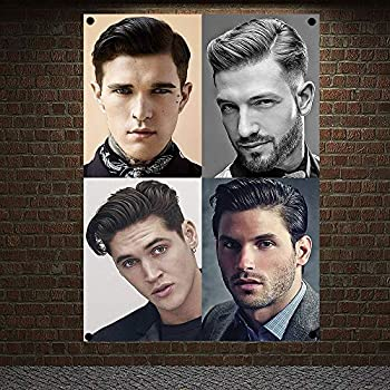 New Popular Men s Hairstyle Barber Shop Signboard Vintage Decor Hairdresser Poster Flag Banner Canvas Painting Hanging Cloth 96x144 cm  38X57 inches  H9