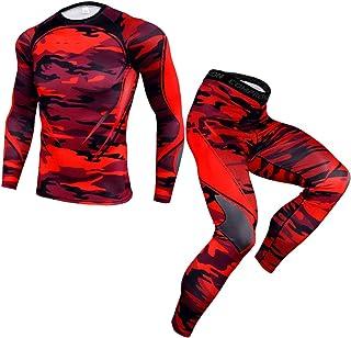 WanYangg 2 Pezzi Compressione Sportivo Abbigliamento,Manica Lunga Fitness Palestra Completi Stretch Pantaloni Jogging Spor...