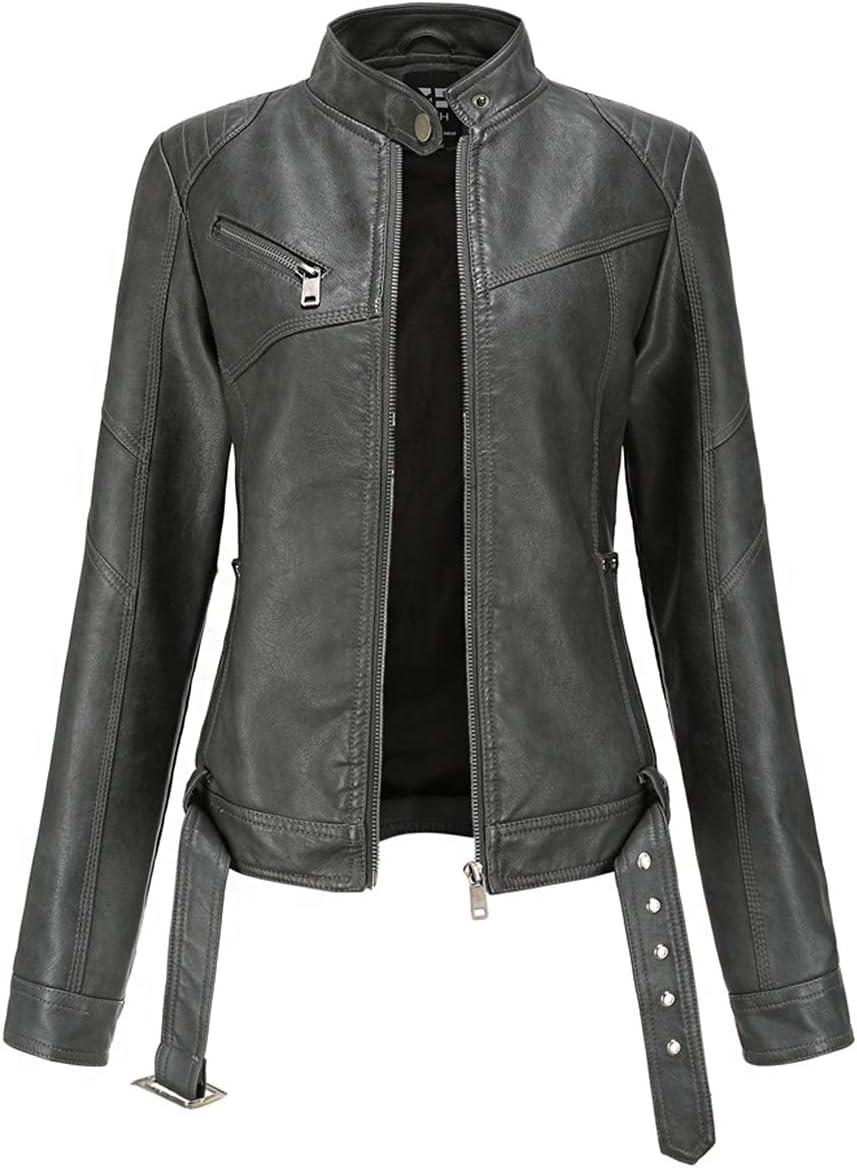 SENDEREAL Women Faux Leather Jacket Black Zipper Short Moto Biker Leather Casual Jacket,S
