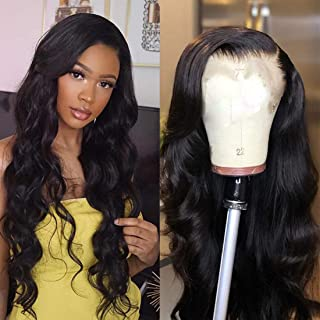 Ms Sunlight 360 Lace Frontal Wig Body Wave Brazilian Human Hair Wigs Pre-Plucked Hairline 150% Density Natural Color With Adjustable Straps 360 Lace Wig with Baby Hair 24 inch