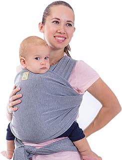 Portabebés transportador Keababies canguro de 2 colores todo en uno para llevar bebés recién nacidos y niños. Bonito regalo para baby shower. Color gris, talla única , Gris clásico